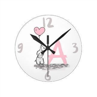Elephant With Pink Heart Balloon Monogram Nursery Round Clock