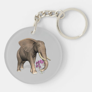 Elephant With Pink Orchid Keychain