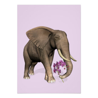 Elephant With Pink Orchid Poster