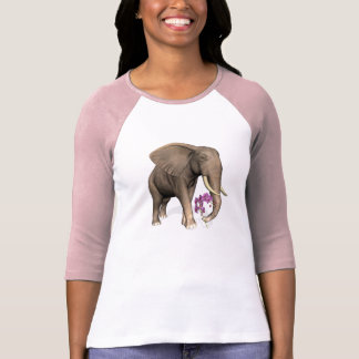Elephant With Pink Orchid T-Shirt