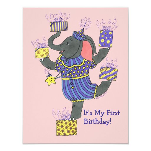"Elephant With Presents First Birthday Invite 4.25"" X 5.5"" Invitation Card"