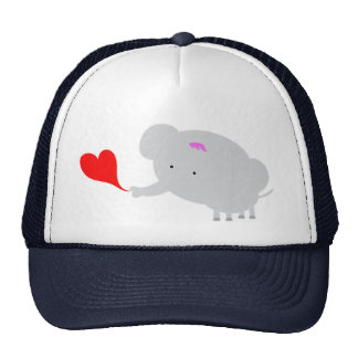 elephant with red heart dark blue hat
