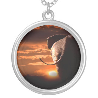 Elephant with Sunset Silver Plated Necklace