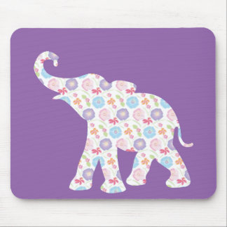 Elephant-with-Watercolor-flowers Pattern  Unique Mouse Pad