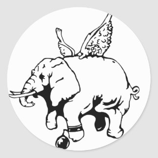 elephant with wings and chain classic round sticker