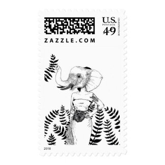 """Elephant Woman"" Postage Stamp"
