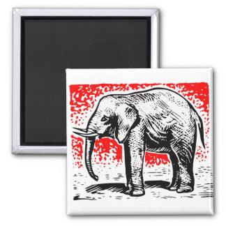 Elephant Woodcut 2 Inch Square Magnet