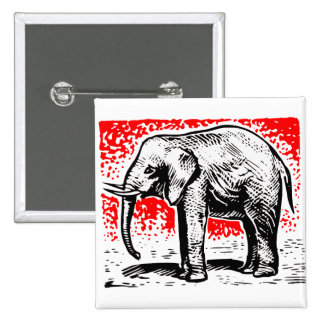 Elephant Woodcut Pins