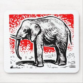 Elephant Woodcut mousepad