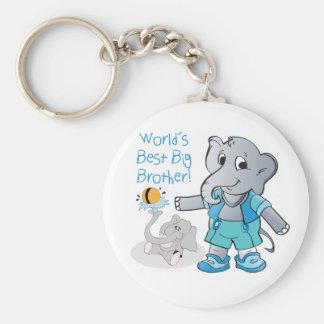 Elephant, World's Best Big Brother Basic Round Button Keychain