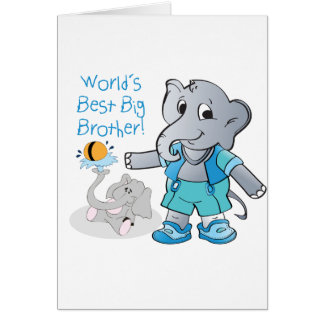 Elephant, World's Best Big Brother Greeting Card