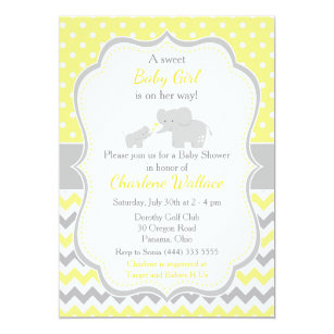 Yellow And Grey Baby Shower Invitations Zazzle