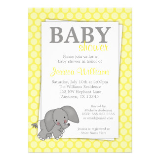 Elephant Yellow Dots Gender Neutral Baby Shower Announcements