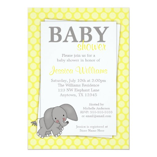 Elephant Yellow Dots Gender Neutral Baby Shower 5x7 Paper ...