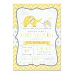 Elephant Yellow Gray Baby Shower 5x7 Paper Invitation Card