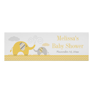 Elephant Yellow Gray Baby Shower Banner Poster