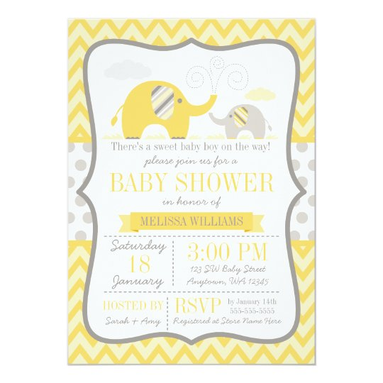 Elephant yellow gray baby shower invitation zazzle elephant yellow gray baby shower invitation filmwisefo