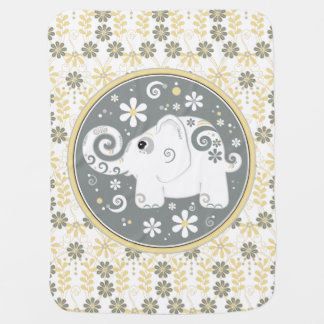 Elephant Yellow Grey White Daisy Floral Swaddle Blanket