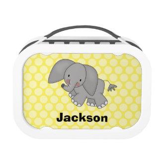 Elephant Yellow Polka Dots Personalized Lunchbox