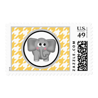 Elephant Yellow & White Houndstooth Postage Stamps