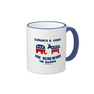 Elephants and A s s e s are s c re wing the masses Ringer Coffee Mug
