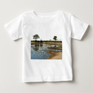 Elephants and Birds at a Waterhole Baby T-Shirt