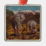 Elephants and Kilimanjaro Ornament