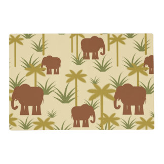 Elephants And Palms In Camouflage Placemat