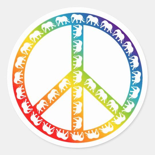 Elephants and Peace Symbol Classic Round Sticker