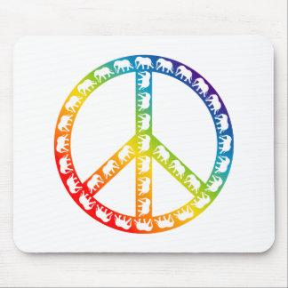 Elephants and Peace Symbol Mouse Pad