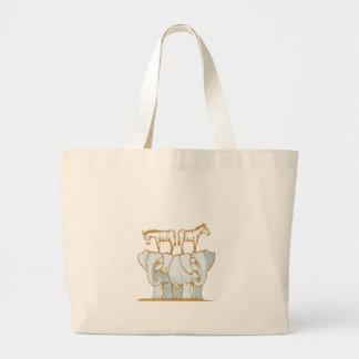 Elephants and Zebras Canvas Bag