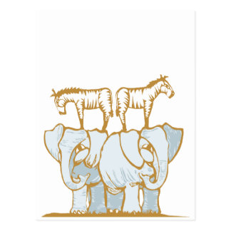 Elephants and Zebras Postcard