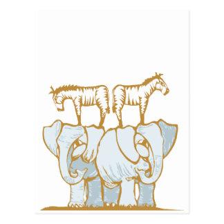 Elephants and Zebras Postcard