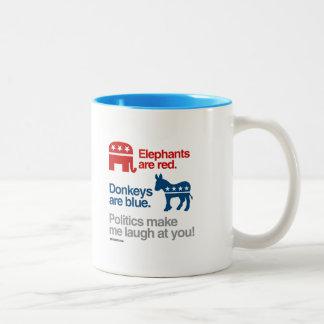 ELEPHANTS ARE RED. DONKEYS ARE BLUE. Two-Tone COFFEE MUG