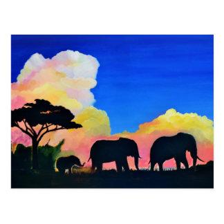 Elephants At Dusk Postcard
