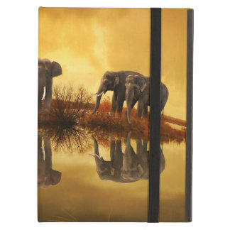 Elephants at Orange Sunset Picture iPad Cases