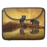 Elephants at Orange Sunset Picture MacBook Pro Sleeves