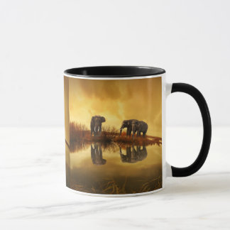 Elephants at Orange Sunset Picture Mug