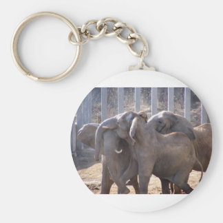 Elephants at Play Key Chains