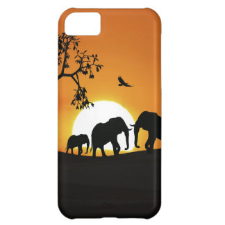 Elephants at sunset cover for iPhone 5C