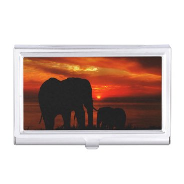 Beach Themed Elephants at Sunset Case For Business Cards