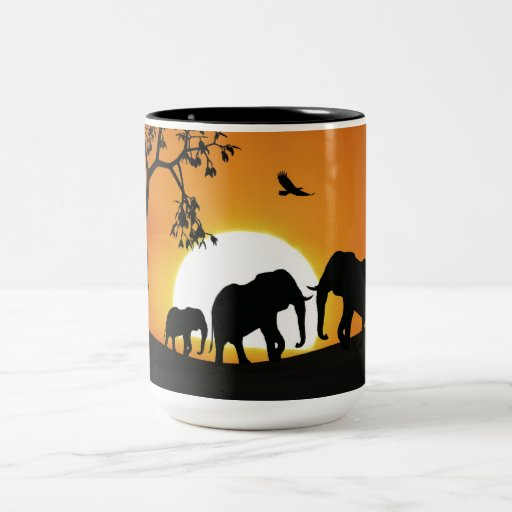 Elephants at sunset coffee mugs
