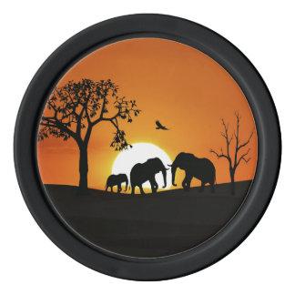 Elephants at sunset poker chips set