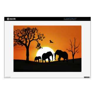 Elephants at sunset laptop skin