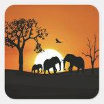 Elephants at sunset square sticker