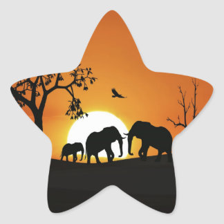 Elephants at sunset star sticker