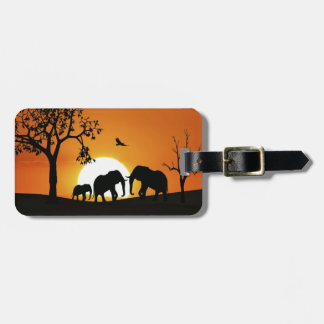 Elephants at sunset tag for luggage