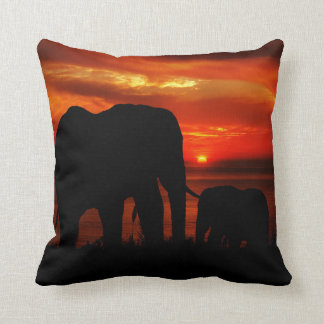 Elephants at Sunset Throw Pillow