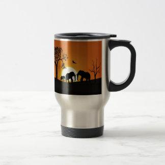 Elephants at sunset travel mug