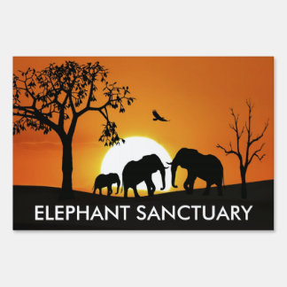 Elephants at sunset lawn signs